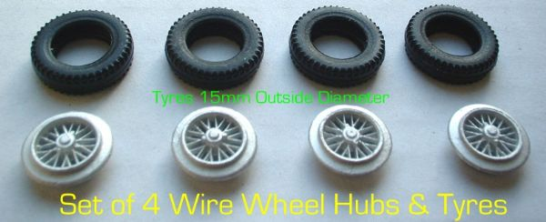4 Wire Hubs with 15mm Treaded Black Tyres for Aston Martins etc.  (Price is for a set of 4)